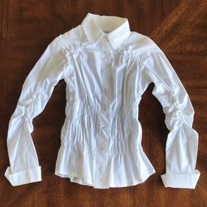 White crinkled button down long sleeve shirt  S-M